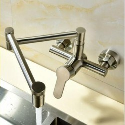 Commercial Wall Mounted Pot Filler Faucet,Folding Stretchable Swing Arm 1-Handle Kitchen Sink Faucet,Brushed Nickel