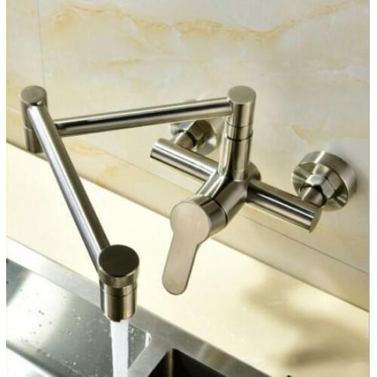 Brushed Pot Filler Wall Mount Single Cold Kitchen Sink Faucet Folding Swing Arm