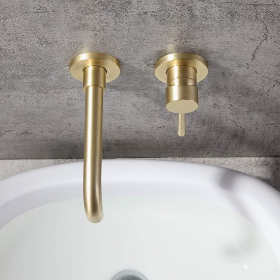 Wall Mount Bathroom Sink Faucet Brushed Brass Single Handle Swivel Spout Basin Mixer Tap, Solid Brass