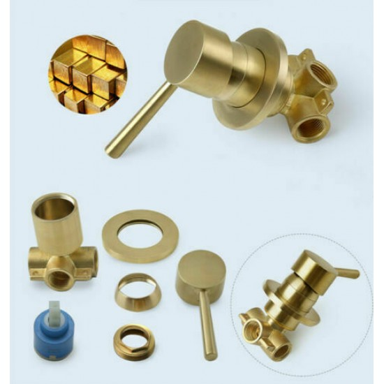 Wall Mounted Bathroom Brushed Gold Round Shower Set 100mm Rain Shower Faucet