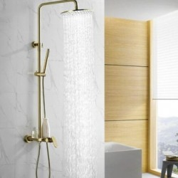 Brushed Gold Solid Brass Bathroom Shower Set Rainfall 8 inch Shower Head Mixer