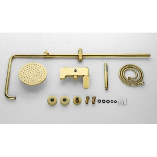 Brushed Gold Solid Brass Bathroom Shower Set Rainfall 8 inch Shower Head Mixer