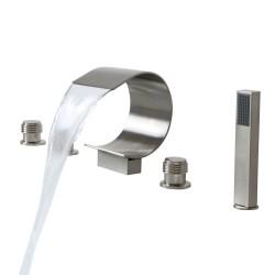 Mooni Waterfall Roman Tub Faucet Deck Mount Bathtub Faucet&Handheld Shower (Brushed Nickel)