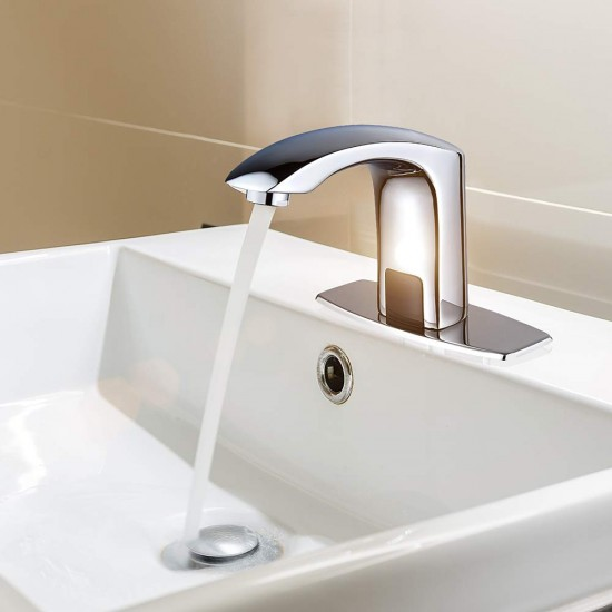 Automatic Commercial Sensor Touchless Bathroom Faucet with Hole Cover Deck Plate,Vanity Faucet,Motion Activated Hands Free Vessel Sink Tap with Control Box,Lead Free Certificated,Polish Chrome Finish