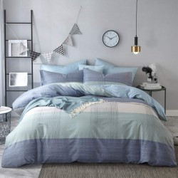 Geometric Duvet Cover Soft Cotton Blue Patchwork Modern Bedding Set with Zipper Ties Mint Green Duvet Cover Set Perfect for Him and Her, Luxury Quality Comfortable Easy Care-King Size