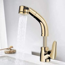 Bathroom Sink Pull Out Faucet Hot and Cold Water Mixer Crane Lift Up and Down Chrome Finished 360 Degree Water Mixer Tap (Golden)