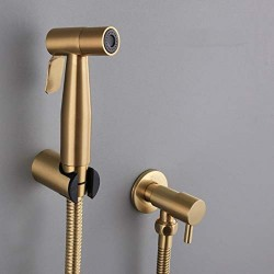 "Brushed Gold Stainless Steel Handheld Bidet Toilet Shattaf Sprayer with Wall Bracket 1/2"" Angle Stop Valve hose Set"