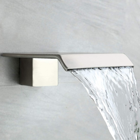 Tub Shower Faucet Set Brushed Nickel Shower System Rain Shower Head Handheld Shower Waterfall Bathtub Spout Included 3 Function BRASS Shower Fixtures with Valve (Nickel Brushed)