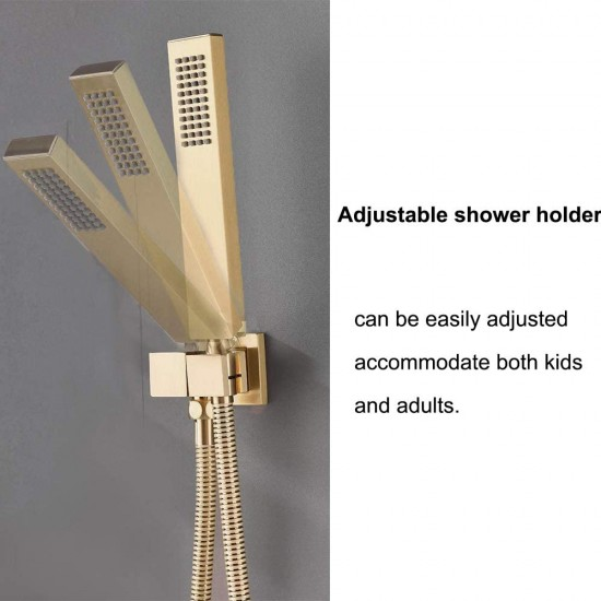 12 Inch Brass Wall Mount Rainfall Shower Faucet System Mixer Set Brushed Gold
