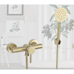 light luxury Bathroom Shower faucet set 304 Stainless Steel wall mounted shower faucet set brush gold