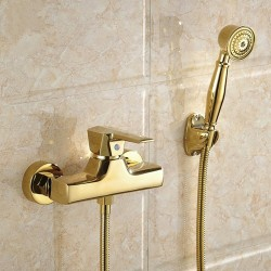 Bathtub Faucet All Brass With Hand Shower Wall Mounted Bathroom Bath Shower Faucets Mixer Tap Gold