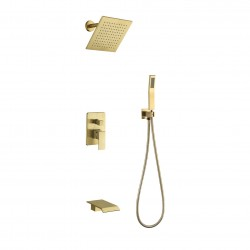 Shower System Rain Shower head Handheld Shower Waterfall Bathtub Spout Included 3 Function BRASS Shower Fixtures with Valve Brushed Nickel