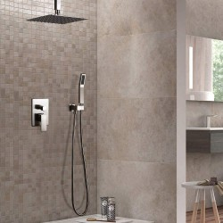 """Modern Brushed Nickel Wall Mounted Shower Set 2-Function Shower Fixture with Square 8"""" Ceiling Mount Rainfall Shower Head Hand Shower, Solid Brass Pressure Balance Valve"""