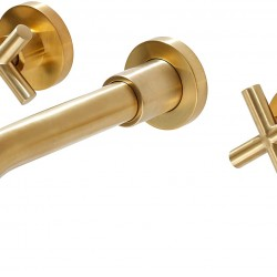 Gold Bathroom Faucet, Double Handle Wall Mount Bathroom Sink Faucet and Rough in Valve Included (Gold)