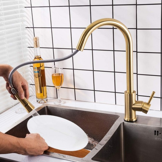 Touch Kitchen Faucet with Pull Down Sprayer, Single Handle Smart Kitchen Sink Faucets with Pull Out Sprayer, Stainless Steel Touch Activated Faucet