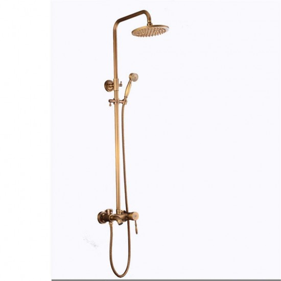 Bathroom Tub Shower Faucet 8-inch Rainfall Shower Head with Handheld Spray Gold Polished Antique Brass