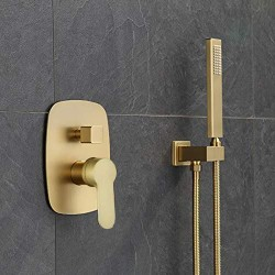 Bathroom Brass Brushed Gold 10 Inch Ceiling Mount Rain Mixer Combo Rainfall Shower Faucet System Set