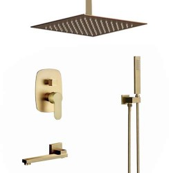 Bathroom Brass Brushed Gold 12 Inch Ceiling Rainfall Shower Faucet System Mixer Set