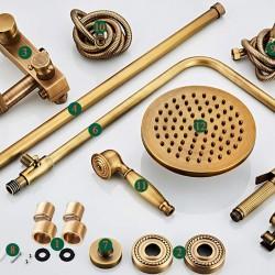 Four Functions Round Antique Brass Bathroom Mixer Shower Combo Set 8-Inch Rainfall Shower Head Spray Gun