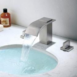Bathroom Waterfall Faucet Brushed Nickel 3 Holes 2 Handle Widespread Bathroom Vanity Sink Faucet
