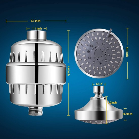 Filtered Shower Head Set 15 Stage With 5 Mode Showerhead Softener for Hard Water