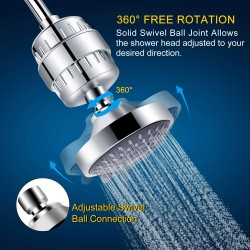 Luxury Filtered Shower Head Set 15 Stage Shower Filter for Hard Water Removes Chlorine and Harmful Substances - Showerhead Filter High Output