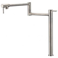 "Deck Mount Pot Filler Faucet Brushed Nickel Finish with Extension Shank and 20"" Dual Swing Joints Spout"