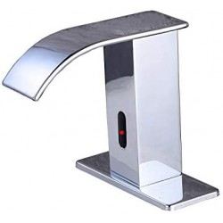 Automatic Faucet Square Body Touchless Sensor Waterfall Bathroom Sink Vessel Faucet Chrome