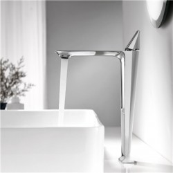 Modern Simple Brass Basin Faucet Single Handle Single Hole Vessel Lavatory Faucet Chrome Color (Tall)