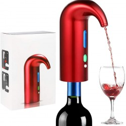 Electric Wine Aerator Portable Pourer Smart Instant Wine Decanter Dispenser Pump, USB Rechargeable, for Red and White Wine,Red