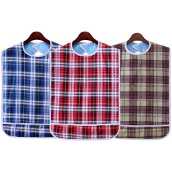 Adult Bib (3 Pack) Washable Reusable Waterproof Clothing Protector with Crumb Catcher for Men and Women 30""