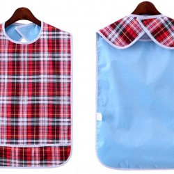 """Adult Bib (3 Pack) Washable Reusable Waterproof Clothing Protector with Crumb Catcher for Men and Women 30"""""""