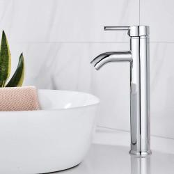 Bathroom Bowl Vessel Sink Lavatory Faucet Single Handle One Hole Deck Mount Tall Body Chrome