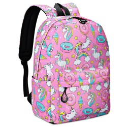 Unicorn Backpack Cute Rainbow Cat Bookbag Laptop Backpacks Funny Lightweight Bag Canvas Backpacks Purple Travel Daypack Waterproof