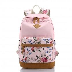 Floral Printing Women School Bag Backpack For Teenage Girls Backpacks Female Canvas Children Schoolbag Black