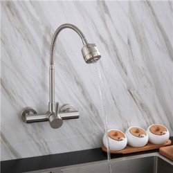 360°Swivel Rotatable Wall Mounted Kitchen Faucets with Sprayer in-Wall Rotating Sink Hot Cold Water Mixer Tap Single Lever Single Hole Stainless Steel Washbasin Fliter Taps