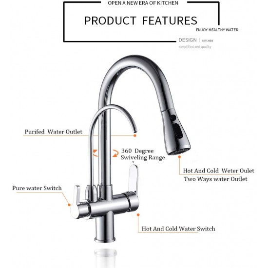 Commercial Lead Free Pull Out Kitchen Sink Faucet Dual Handle 3 in 1 High Arc Water Filter Purifier Faucets Polished Chrome