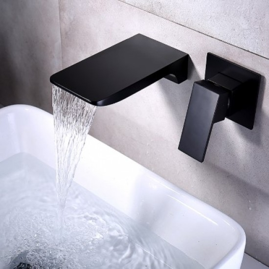 Bathroom Faucet, Single Handle Wall Mount Waterfall Bathroom Sink Faucet and Rough in Valve Included (Brushed Gold)