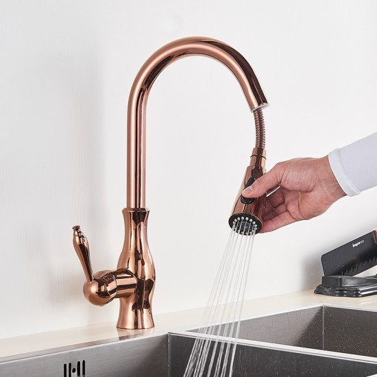 Kitchen Faucets Brass Single Handle Pull Out Kitchen Mixer Tap Water Tap Hole Rotating Rose Gold