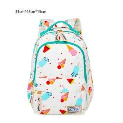 Floral Zipper Nylon Backpacks Student Girls Composite Twill Knapsack School Bags