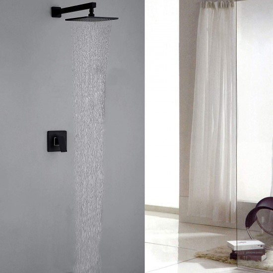 Shower Faucet Set Wall Mounted Rainfall Shower Head 8 inch Square with Single Lever Mixer Valve Combo Matte Black