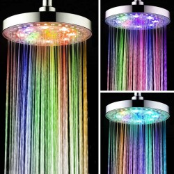 "8"" Inch Round Bathroom LED Light Rain Top Shower Head 7 Colors Automatic Changing LED Overhead Shower Head Water Glow Chrome Finish"