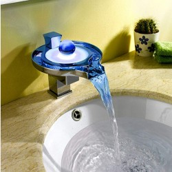 Color Changing LED Waterfall Bathroom Wall Mount Faucet (Chrome Finish)