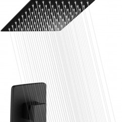 Bathroom Matte Black Shower Faucet Set System, Shower Faucets Sets Complete with 8 Inches Square Rain Shower Head, Shower Trim Kit with Rough-in Valve