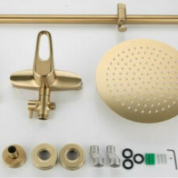 Bathroom Shower Set 10 inch Brass Rainfall Wall Mounted Shower Faucet Brushed Gold Water Mixer System