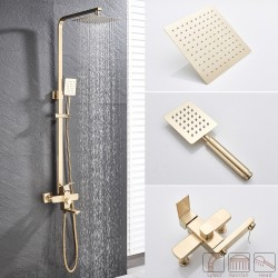 Outdoor 8 Inches Shower Mixers Faucet Stainless Steel Rain Shower Faucets System In-wall Square Hand Shower Mixer Tap Set Brushed Gold