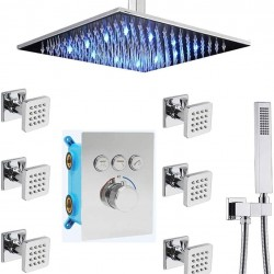 12 Inch LED Ceiling Rain Shower Head Combo System with 6pcs Body Jets and Handheld, Chrome Shower Faucet Fixture Set, It Can Use All Options at A Time (Polished Chrome)