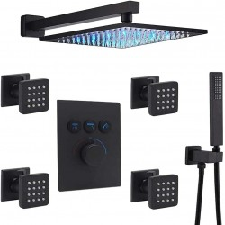 12 Inch Luxury LED Rainfall Shower Heads System with 4 pcs Body Jets and Handheld Shower Faucet Fixture Set, It Can Use All Options at A Time (Matte Black)