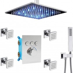 12 Inch LED Ceiling Rain Shower Head Combo System with Body Jets and Handheld, Chrome Shower Faucet Fixture Set, Can Use All Options at A Time (Polished Chrome)