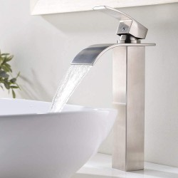 1.77 Inches Body Wide Tall Waterfall Single Handle Brushed Nickel Vessel Sink Bathroom Faucet, Lavatory Vanity Sink Faucet with Large Rectangular Spout